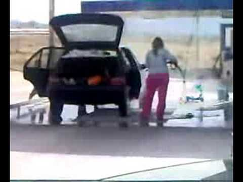 Dumb Woman Power Washing Her Car … Inside